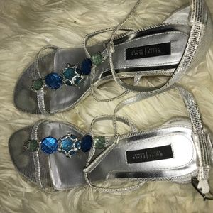 whbm silver strap wedge sandals size 10